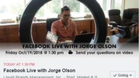Join Jorge Olson in Facebook Live Session at 1:30 pm (Pacific) Oct/19/2018